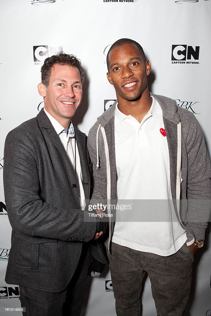 Founder of GBK Productions Gavin Keilly and Victor Cruz attends the GBK & Cartoon Network's Official Backstage Thank You Lounge at Barker Hangar on February 9, 2013 in Santa Monica, California.