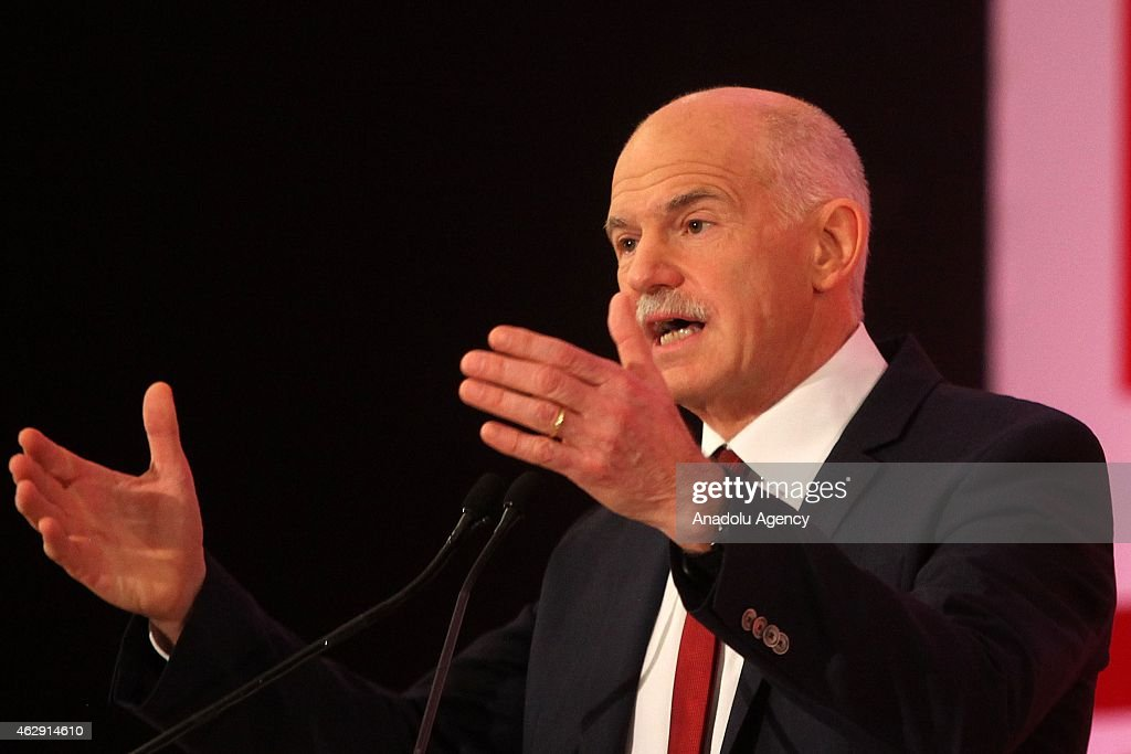 Founder of Greek Movement of Democratic Socialists (KIDISO) <a gi-track='captionPersonalityLinkClicked' href=/galleries/search?phrase=George+Papandreou&family=editorial&specificpeople=212855 ng-click='$event.stopPropagation()'>George Papandreou</a> speaks during the movement's first congress at the Peace and Friendship Stadium in Athens, Greece on February 07, 2015.