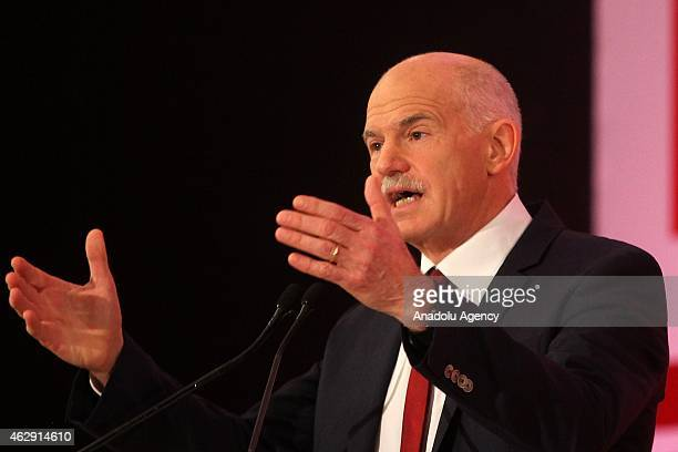 Founder of Greek Movement of Democratic Socialists George Papandreou speaks during the movement's first congress at the Peace and Friendship Stadium...