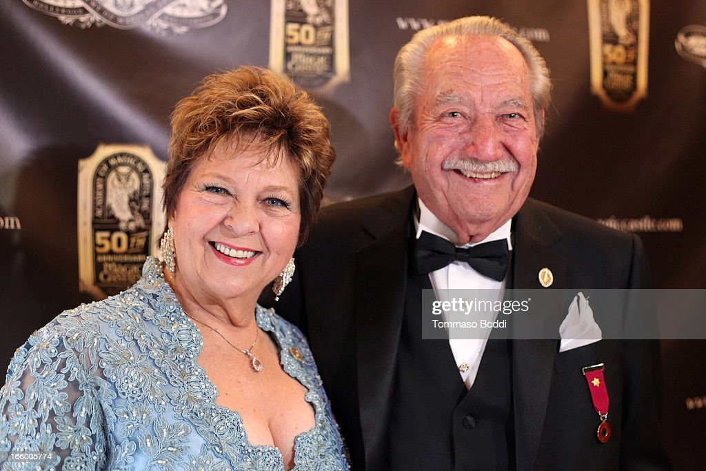 Founder of Hollywood's Magic Castle Milt Larsen (R) and guest attend the Academy Of Magical Arts 45th Annual AMA Awards Show held at the Orpheum Theatre on April 7, 2013 in Los Angeles, California.