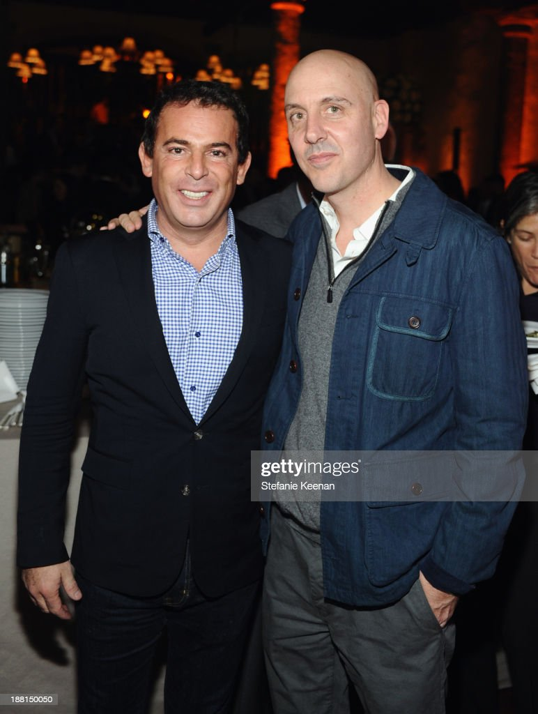 Founder of Jumex Foundation Eugenio Lopez and Director of La Coleccion Jumex Patrick Charpenel attend Museo Jumex Opening welcome dinner at Casa De La Bola on November 15, 2013 in Mexico City, Mexico.