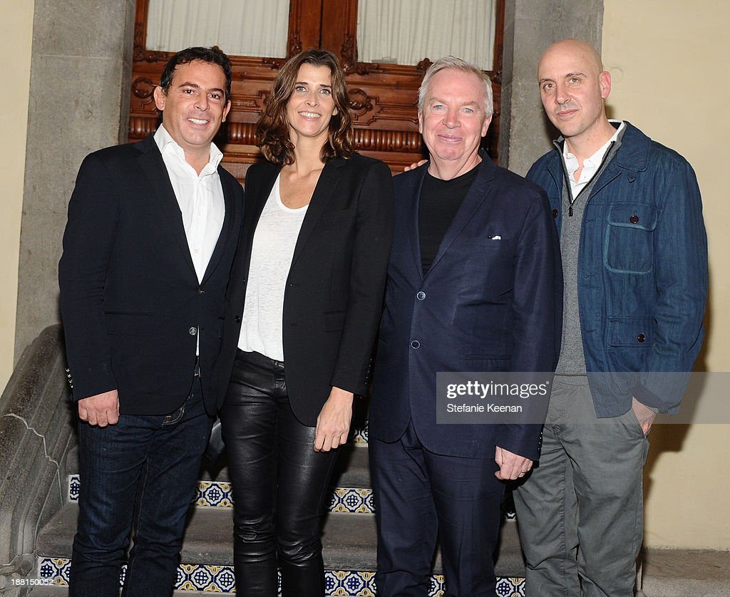 Founder of Jumex Foundation Eugenio Lopez, host Rosario Saxe-Coburg, architect David Chipperfield and Director of La Coleccion Jumex Patrick Charpenel attend Museo Jumex Opening welcome dinner at Casa De La Bola on November 15, 2013 in Mexico City, Mexico.