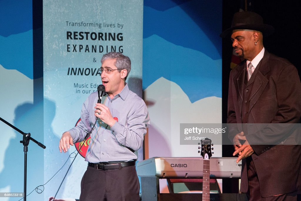 Founder of Kids Rock David Wish and Nick Colionne speak at Chicago Public School Announces Music Program Expansion With Little Kids Rock at Franklin Fine Arts Center Auditorium on February 28, 2017 in Chicago, Illinois.