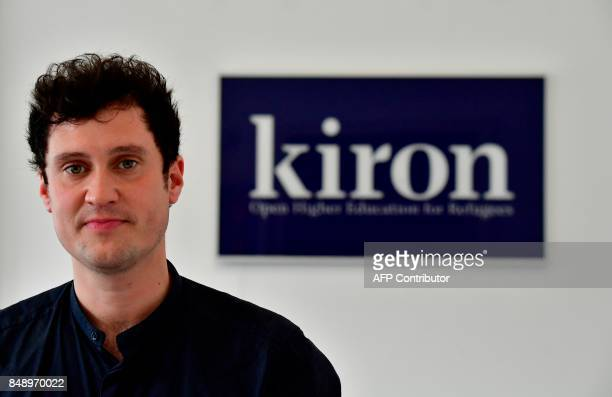 Founder of Kiron Markus Kressler poses at the Berlin office before an AFP interview in Berlin on September 6 2017 Kiron Open Higher Education which...