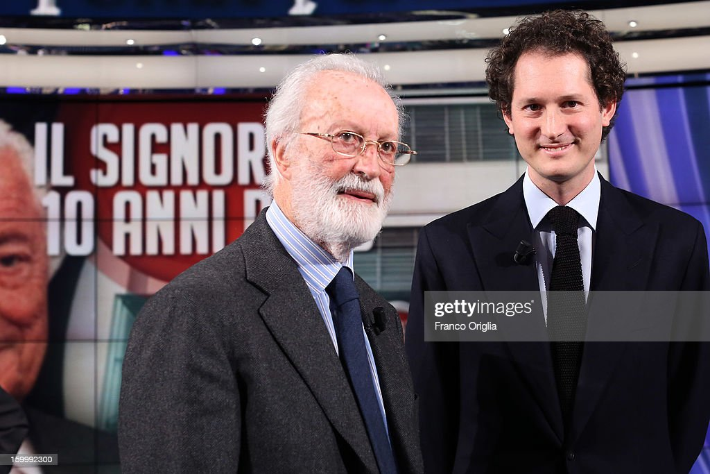 Founder of 'La Repubblica' Italian newspaper Enrico Scalfari (L) and Fiat Chairman <a gi-track='captionPersonalityLinkClicked' href=/galleries/search?phrase=John+Elkann&family=editorial&specificpeople=571803 ng-click='$event.stopPropagation()'>John Elkann</a> (R) attend 'Porta A Porta' Italian TV Show dedicated to Giovanni Agnelli on January 24, 2013 in Rome, Italy. Today President of Italian Republic Giorgio Napolitano remembered after 10 years the death of Gianni Agnelli - President and principal shareholder of Fiat Group at the Cathedral of Torino.