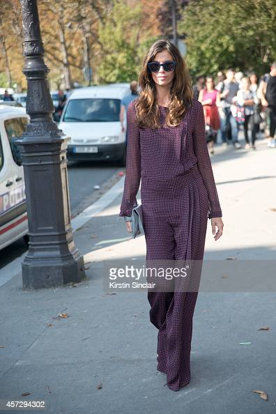 Founder of Leblon Mall Fashion Christina Pitanguy wears a Joseph jumpsuit Rochas clutch bag and Prada shoes on day 9 of Paris Collections Women on...
