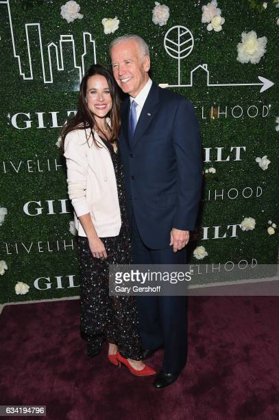 Founder of Livelihood Ashley Biden and former Vice President Joe Biden attend Gilt x Livelihood launch event at Spring Place on February 7 2017 in...