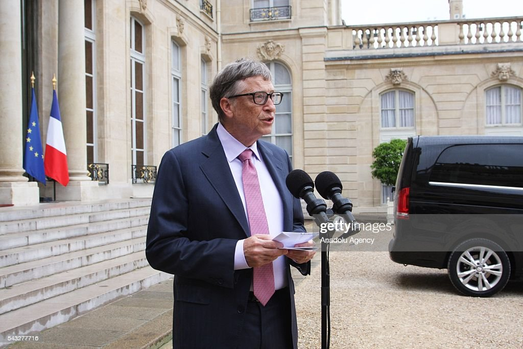 Founder of Microsoft Bill Gates delivers a speech during a press conference after his meeting with President of France Francois Hollande (not seen at Elysee Palace in Paris, France on June 27, 2016.