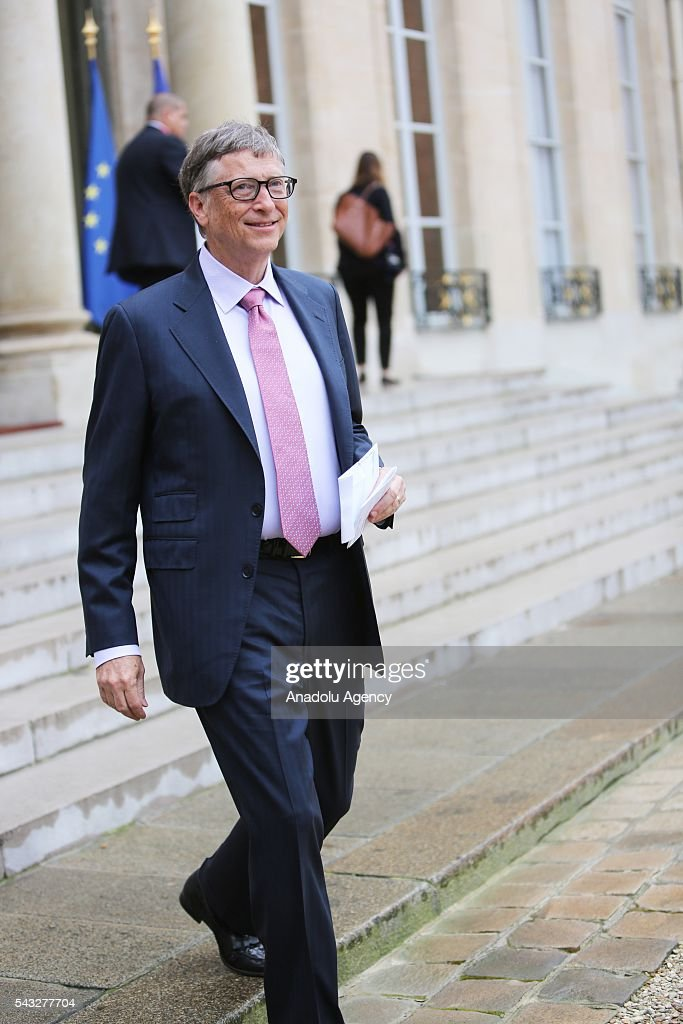 Founder of Microsoft Bill Gates is seen after his meeting with President of France Francois Hollande (not seen at Elysee Palace in Paris, France on June 27, 2016.