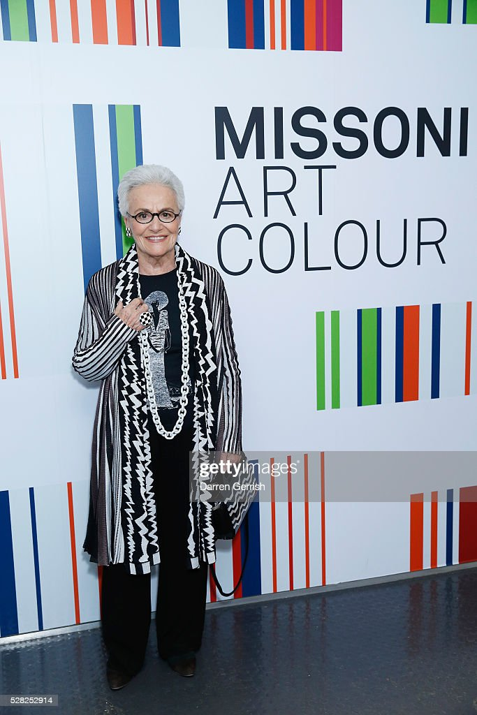 Founder of Missoni, Rosita Missoni attends the Missoni Art Colour preview in partnership with Woolmark at The Fashion and Textile Museum on May 4, 2016 in London, England.