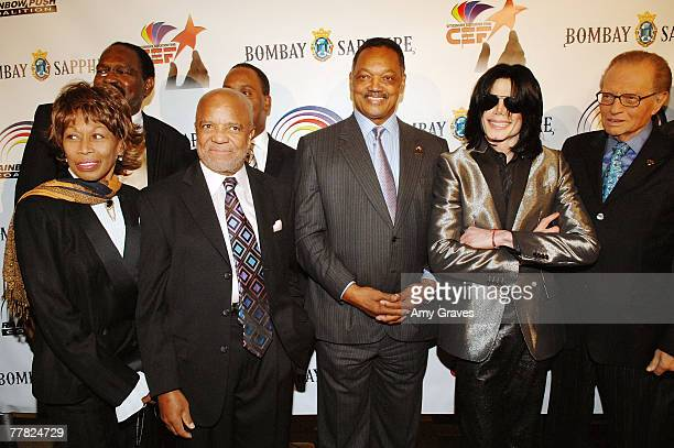 Founder of Motown Records Berry Gordy Founder and President of the Rainbow PUSH Coalition Reverend Jesse Jackson Sr Singer Michael Jackson and talk...