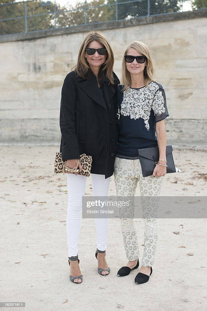 Founder of Net A Porter Natalie Massanet and Fashion buyer for Net A Porter Holli Rogers on day 3 of Paris Fashion Week Spring/Summer 2014, Paris September 26, 2013 in Paris, London.