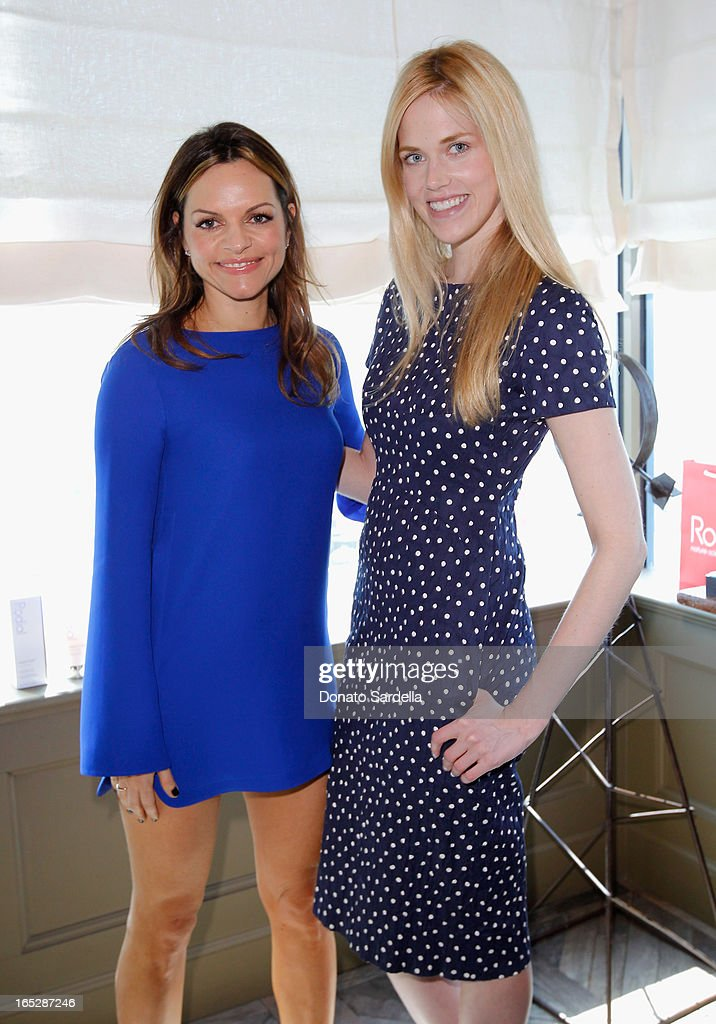 Founder of Rodial Skincare Maria Hatzistefanis (L) and actress Byrdie Bell attend the Rodial 10th Anniversary Luncheon on April 2, 2013 in West Hollywood, California.