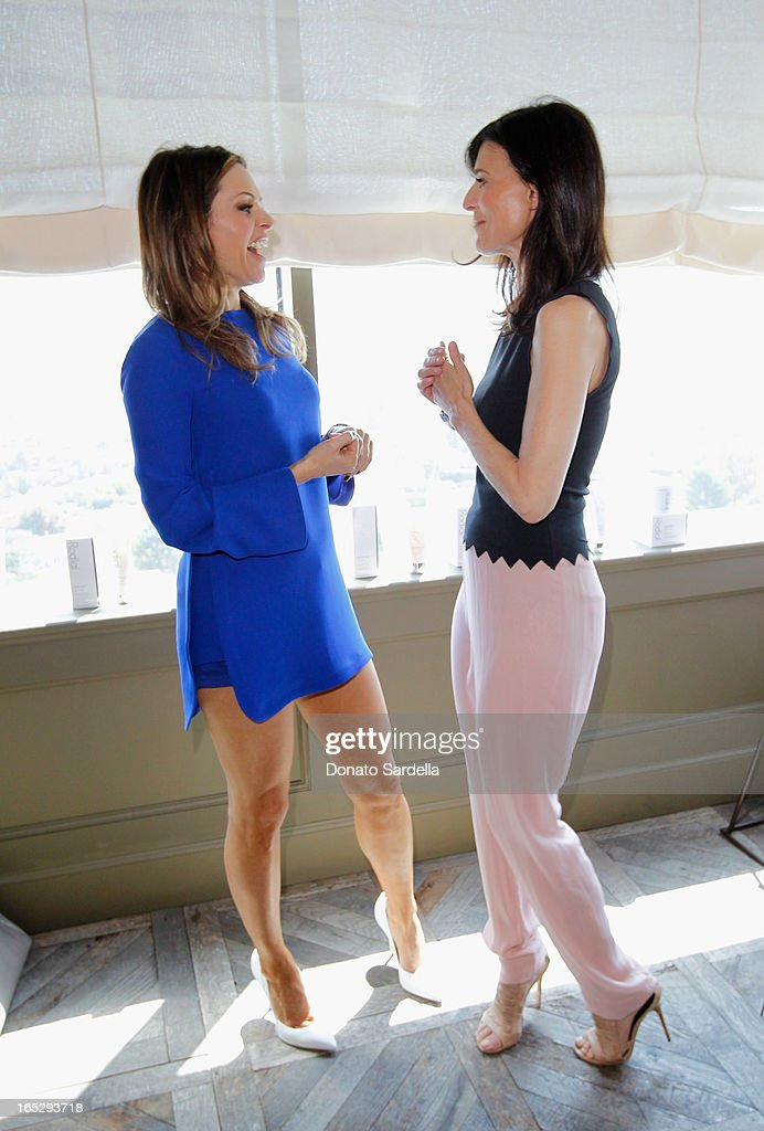 Founder of Rodial Skincare Maria Hatzistefanis (L) and actress Perrey Reeves attend the Rodial 10th Anniversary Luncheon on April 2, 2013 in West Hollywood, California.