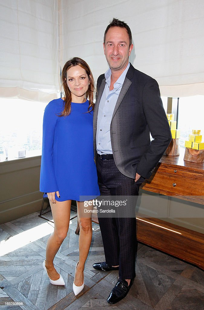 Founder of Rodial Skincare Maria Hatzistefanis (L) and TV personality and Co-Owner of Decades Christos Garkinos attend the Rodial 10th Anniversary Luncheon on April 2, 2013 in West Hollywood, California.