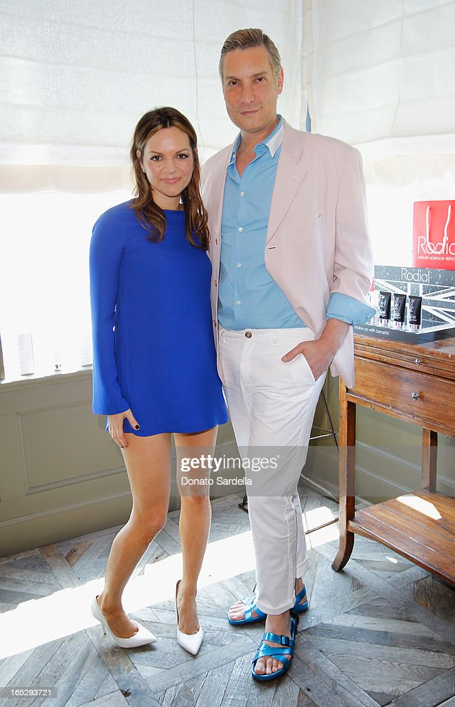 Founder of Rodial Skincare Maria Hatzistefanis (L) and TV personality and Co-Owner of Decades Cameron Silver attend the Rodial 10th Anniversary Luncheon on April 2, 2013 in West Hollywood, California.
