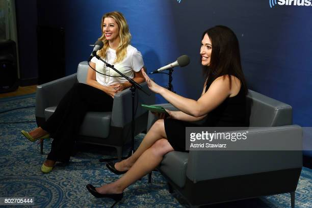Founder of SPANX Sara Blakey and SiriusXM host Randi Zuckerberg speak during 'SiriusXM's Town Hall With Sara Blakey Hosted By Randi Zuckerberg' at...