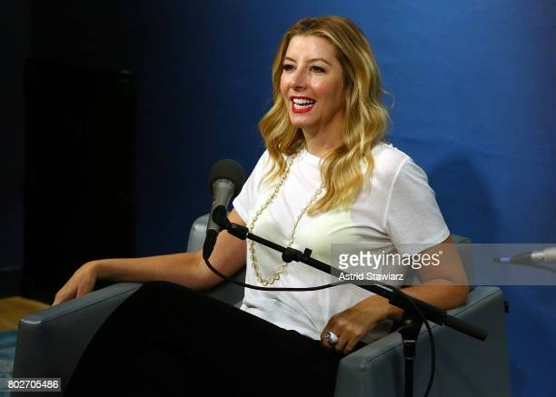 Founder of SPANX Sara Blakey speaks during 'SiriusXM's Town Hall With Sara Blakey Hosted By Randi Zuckerberg' at SiriusXM Studios on June 28 2017 in...