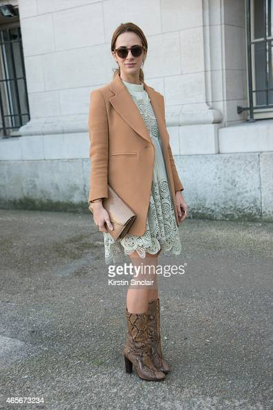 Founder of System magazine Alexia Niedzielski wears a Chloe dress at the Chloe show on day 6 of Paris Collections Women on March 08 2015 in Paris...
