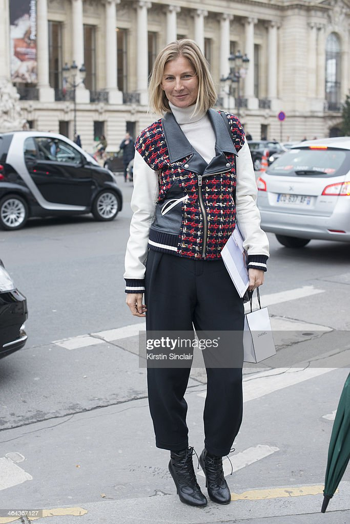 Founder of System magazine Elizabeth Von Guttman wears a Junya Watanabe jacket, Chloe trousers and Tabitha Simmons shoes day 2 of Paris Haute Couture Fashion Week Spring/Summer 2014, on January 21, 2014 in Paris, France.