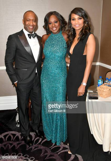 Founder of the ABFF Jeff Friday actor Viola Davis and Nicole Friday attend BET Presents the American Black Film Festival Honors on February 17 2017...