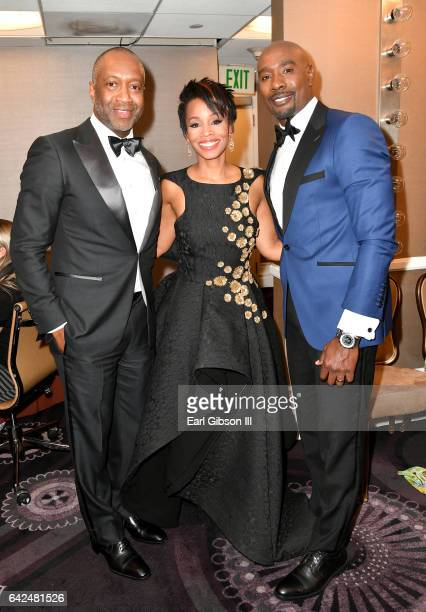 Founder of the ABFF Jeff Friday and actors Anika Noni Rose and Morris Chestnut attend BET Presents the American Black Film Festival Honors on...