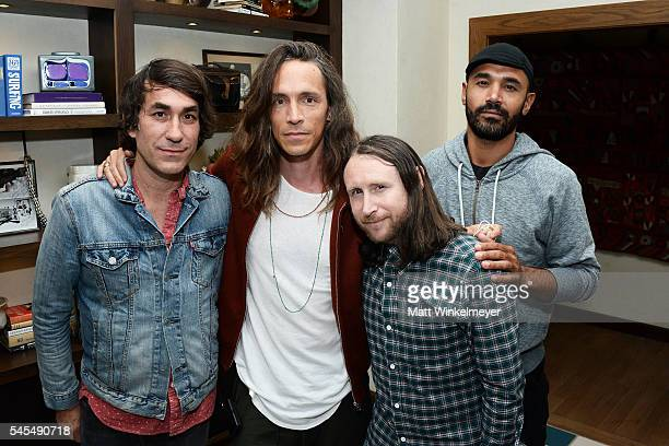 Founder of The Bungalow Huntington Beach Brent Bolthouse singer Brandon Boyd guitarist Mike Einziger and bassist Ben Kenney of the band Incubus...