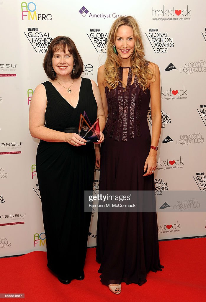 Founder of the Cambridge Satchel Company, Julie Deane (L) with her Footwear and Accessories Design Team award during the WGSN Global Fashion Awards at The Savoy Hotel on November 5, 2012 in London, England.