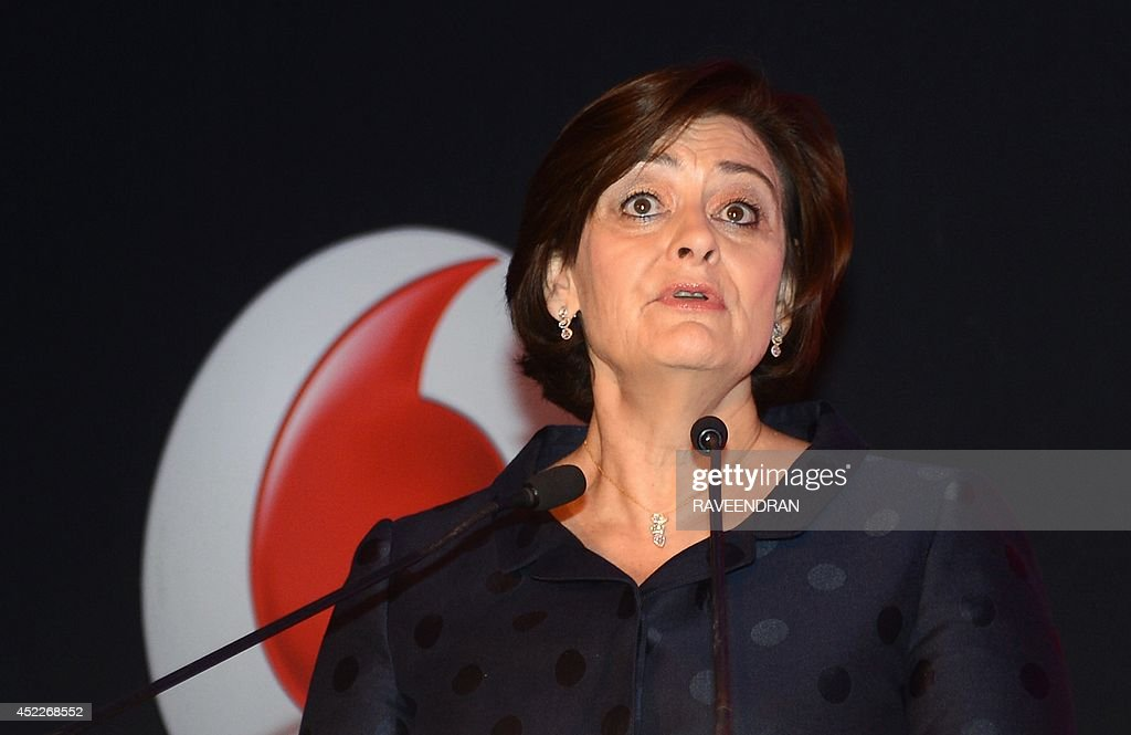 Founder of the Cherie Blair Foundation for Women, Cherie Blair speaks during the launch the Vodafaone Connected Women report 2014 in New Delhi on July 17, 2014. The Vodafone Connected Women report has found that providing women with greater access to mobile phones and services could lead to a 29 billion dollar increase in annual global productivity from 2020, as a result of geater female participation in the workforce and saving in public services.
