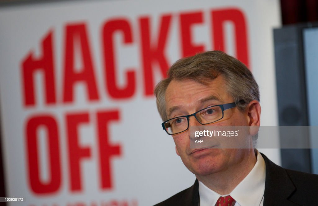 Founder of the Hacked Off campaign Brian Cathcart attends a press conference in London, on March 18, 2013, following the cross-party agreement on a new system of newspaper self-regulation that resulted from negotiations sparked by the Leveson Inquiry's review of press standards. Hacked Off, a campaign group that advocates for victims of press abuse, welcomed the cross-party agreement on implementing the Leveson recommendations on press self-regulation.