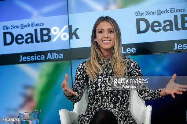 Founder of The Honest Company Jessica Alba speaks onstage during The New York Times DealBook Conference at One World Trade Center on December 11 2014...
