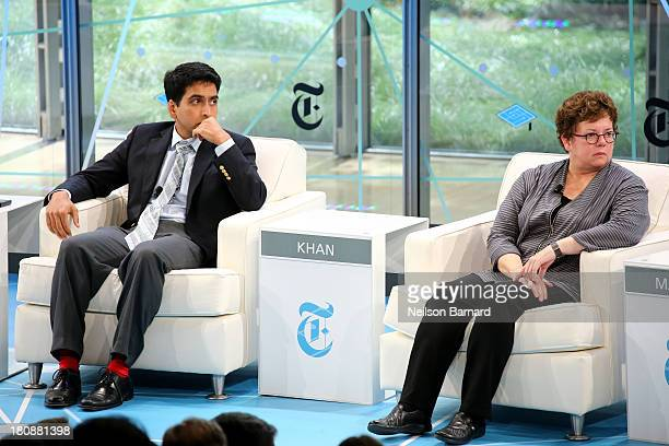 Founder of the Khan Academy Sal Khan and Amherst College President Biddy Martin speak during the Has the University As An Institution Had Its Day...