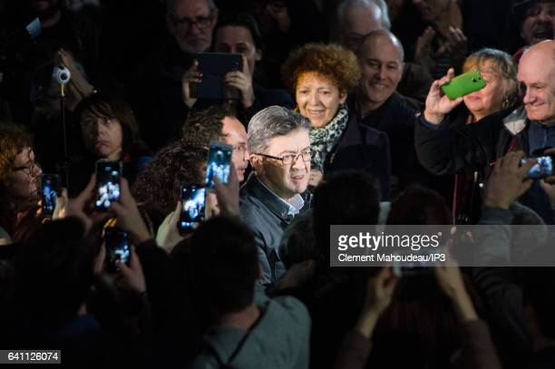 Founder of the left wing movement 'La France Insoumise' and candidate for the 2017 French Presidential Election Jean Luc Melenchon is surrounded by...