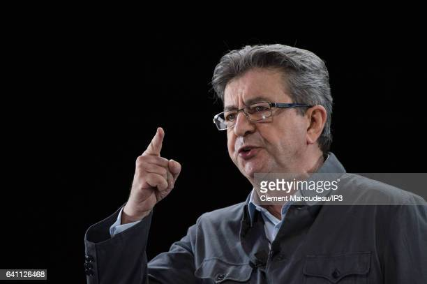 Founder of the left wing movement 'La France Insoumise' and candidate for the 2017 French Presidential Election Jean Luc Melenchon delivers a speech...
