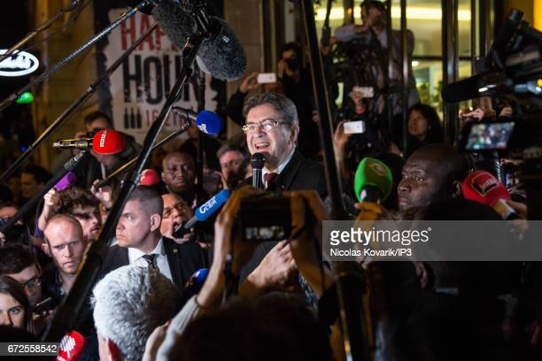 Founder of the left wing movement 'La France Insoumise' and presidential candidate Jean Luc Melenchon adresses his supporters after the announcement...