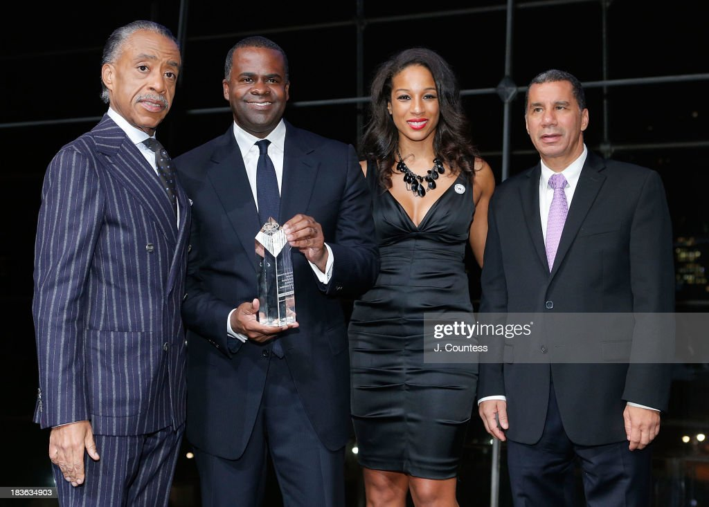 Founder of the National Action Network Reverend Al Sharpton, The Mayor of Atlanta the Honorable Kasim Reed, Acting Executive Director of the National Action Network Janaye Ingram and Former New York Governor David Paterson onstage during The 4th Annual Triumph Awards at Rose Theater, Jazz at Lincoln Center on October 7, 2013 in New York City.