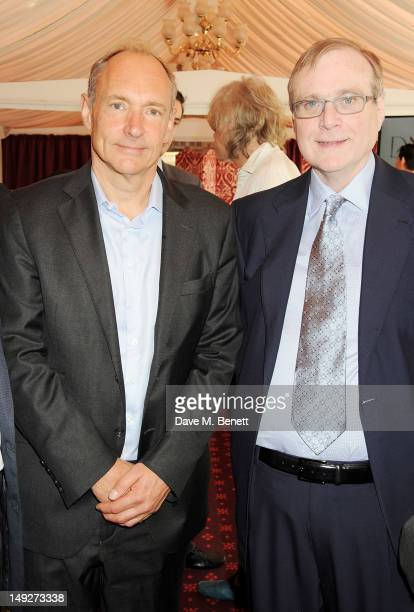 Founder of the World Wide Web Sir Tim BernersLee and Microsoft cofounder Paul Allen attend the DNA Summit Innovation 101 Power Breakfast in the...