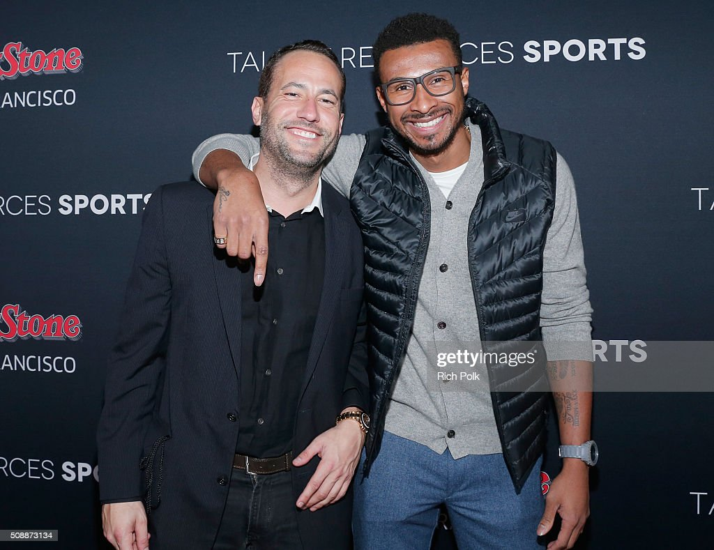 Founder of TR Sports David Spencer (L) and NBA player <a gi-track='captionPersonalityLinkClicked' href=/galleries/search?phrase=Leandro+Barbosa&family=editorial&specificpeople=201506 ng-click='$event.stopPropagation()'>Leandro Barbosa</a> attend Rolling Stone Live SF with Talent Resources on February 7, 2016 in San Francisco, California.