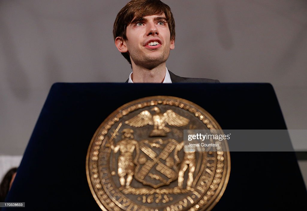 Founder of Tumblr <a gi-track='captionPersonalityLinkClicked' href=/galleries/search?phrase=David+Karp&family=editorial&specificpeople=6603515 ng-click='$event.stopPropagation()'>David Karp</a> speaks after accepting his 'Made In NY Award' at the 8th Annual 'Made In NY Awards' at Gracie Mansion on June 10, 2013 in New York City.