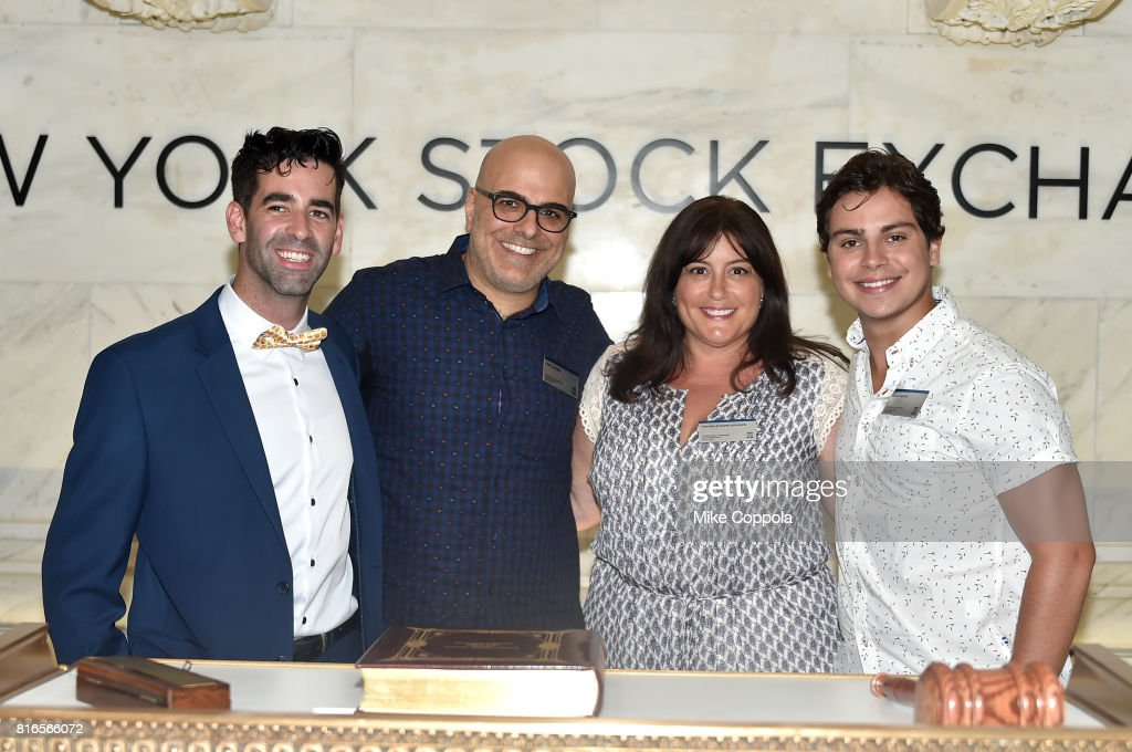 Founder of World Emoji Day Jeremy Burge, Director Tony Leondis, Producer Michelle Raimo Kouyate and Actor Jake T. Austin ring The Closing Bell Of The New York Stock Exchange In Honor Of World Emoji Day at New York Stock Exchange on July 17, 2017 in New York City.