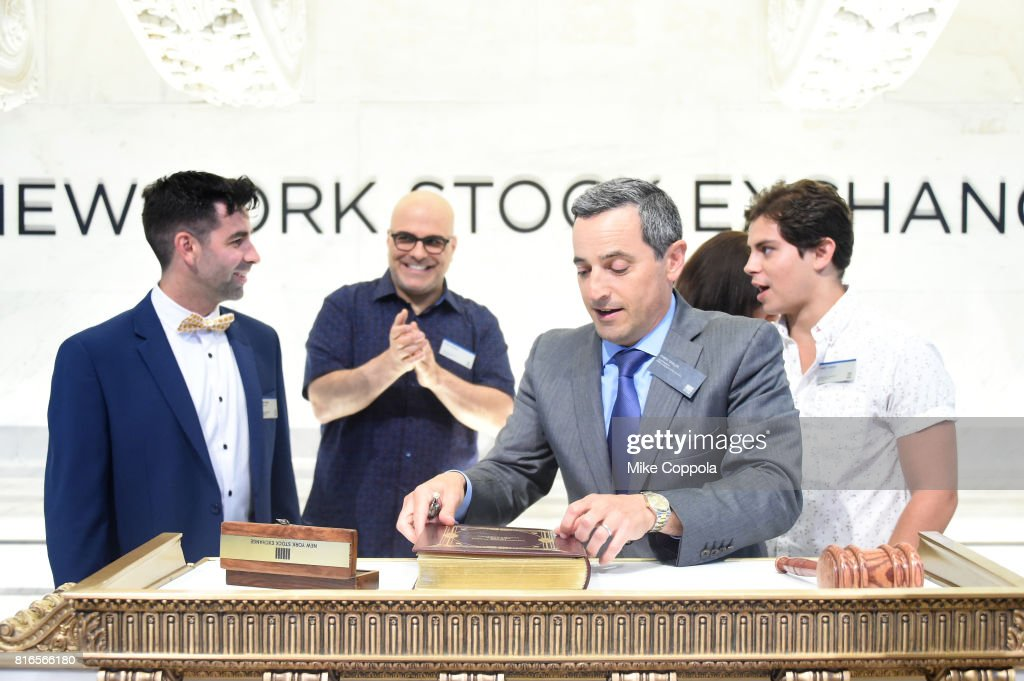 Founder of World Emoji Day Jeremy Burge, Director Tony Leondis, Vice President of the NYSE Listings an NYSE Services Chris Taylor and Actor Jake T. Austin ring The Closing Bell Of The New York Stock Exchange In Honor Of World Emoji Day at New York Stock Exchange on July 17, 2017 in New York City.