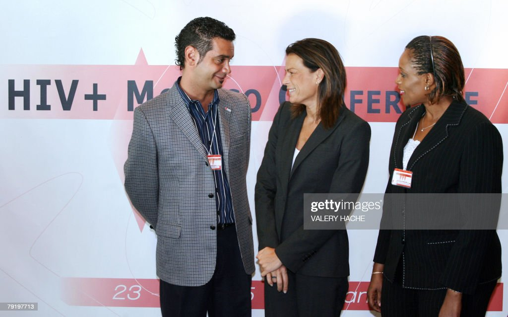Founder President of Fightaids, Princess Stephanie of Monaco (C) speaks with UNAIDS (United Nations program on HIV AIDS) special representatives, Argentina's Jose Maria Di Bello (L) and Burundi's Jeane Capiya Niyonzima (R) during the opening session of HIV+Monaco conference, 24 January 2008 in Monaco. The conference with GPN (Global Network of People Living with HIV/AIDS) and UNAIDS, brings together many organizations to focus efforts in the area and will take place until 26 January.