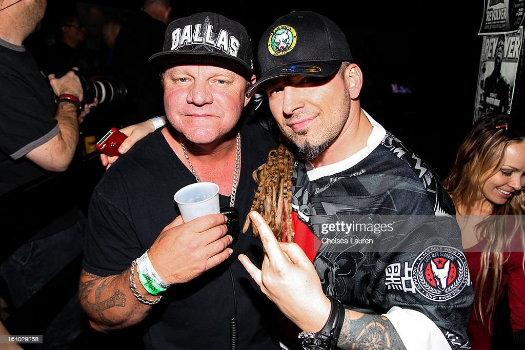 Founder / president of Synergy Global Entertainment John Reese (L) and guitarist Zoltan Bathory of Five Finger Death Punch attend the 6th annual Rockstar energy drink Mayhem festival press conference at The Whiskey A Go Go on March 18, 2013 in West Hollywood, California.
