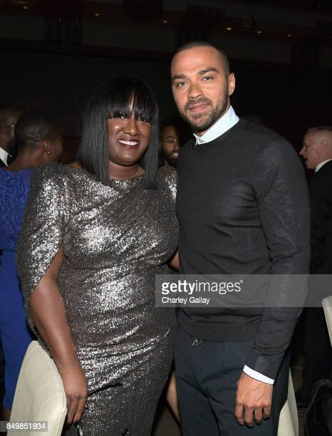 Founder President Tiffany R Warren and Jesse Williams attend the 11th Annual ADCOLOR Awards at Loews Hollywood Hotel on September 19 2017 in...