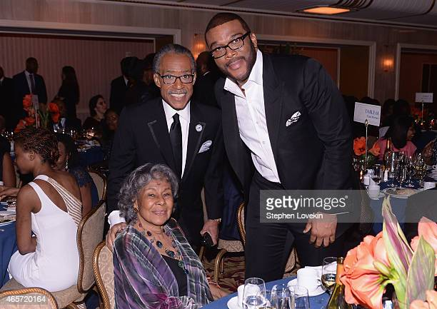 Founder Rachel Isum Robinson Al Sharpton and Tyler Perry attend the Jackie Robinson Foundation Awards Dinner at Waldorf Astoria Hotel on March 9 2015...