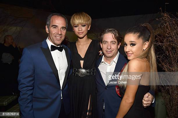 Founder Republic Records Monte Lipman actress/singer Zendaya EVP Republic Records Charlie Walk and singersongwriter Ariana Grande attend Universal...