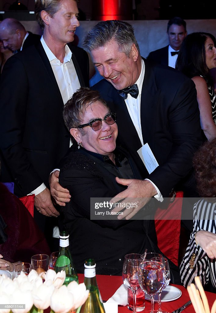 Founder Sir Elton John and actor Alec Baldwin attend the Elton John AIDS Foundation's 13th Annual An Enduring Vision Benefit at Cipriani Wall Street...