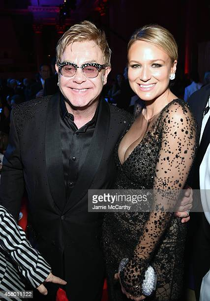 Founder Sir Elton John and musician Jewel attends the Elton John AIDS Foundation's 13th Annual An Enduring Vision Benefit at Cipriani Wall Street on...