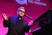 Founder Sir Elton John performs onstage at the Elton John AIDS Foundation's 13th Annual An Enduring Vision Benefit at Cipriani Wall Street on October...