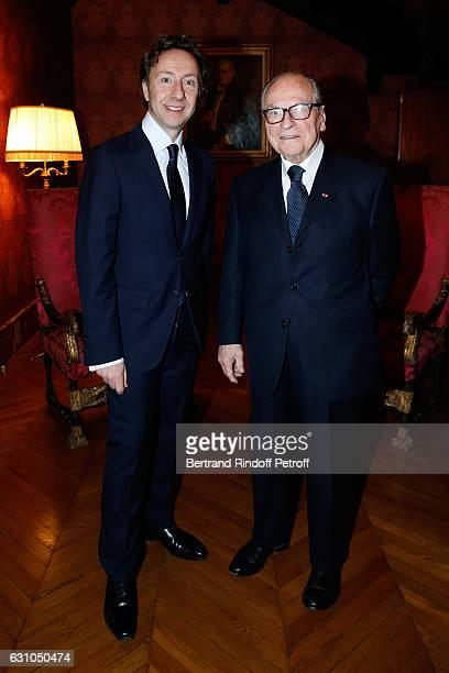 Founder Stephane Bern and Chancellor of 'Institut de France' Gabriel de Broglie attend Stephane Bern's Foundation for 'L'Histoire et le Patrimoine...